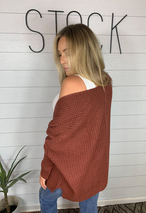 Button Cardigan in Brick