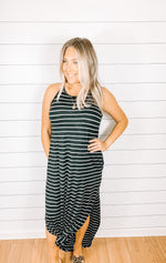 Maxi Dress In Black Stripe