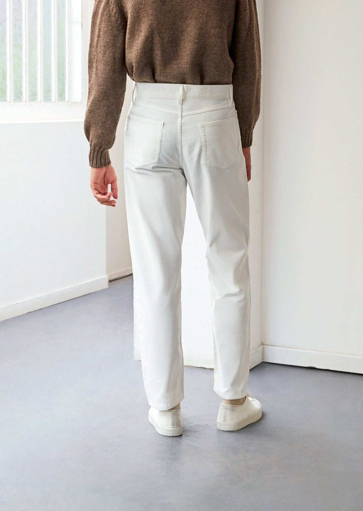 5 Pocket trousers - English medium wale corduroy - White