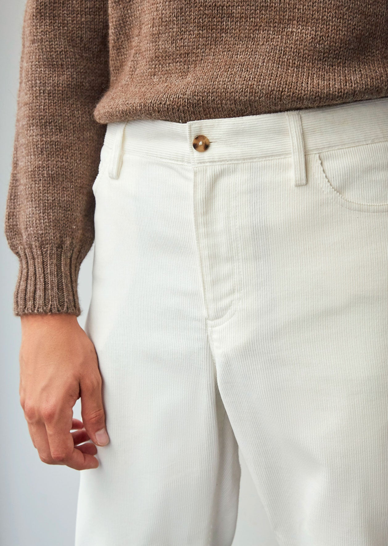 5 Pocket trousers - English medium wale corduroy - White - De Bonne Facture