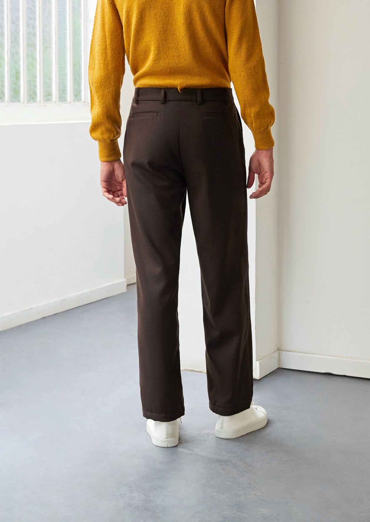 Two pleat large trousers - Japanese wool twill - Brown