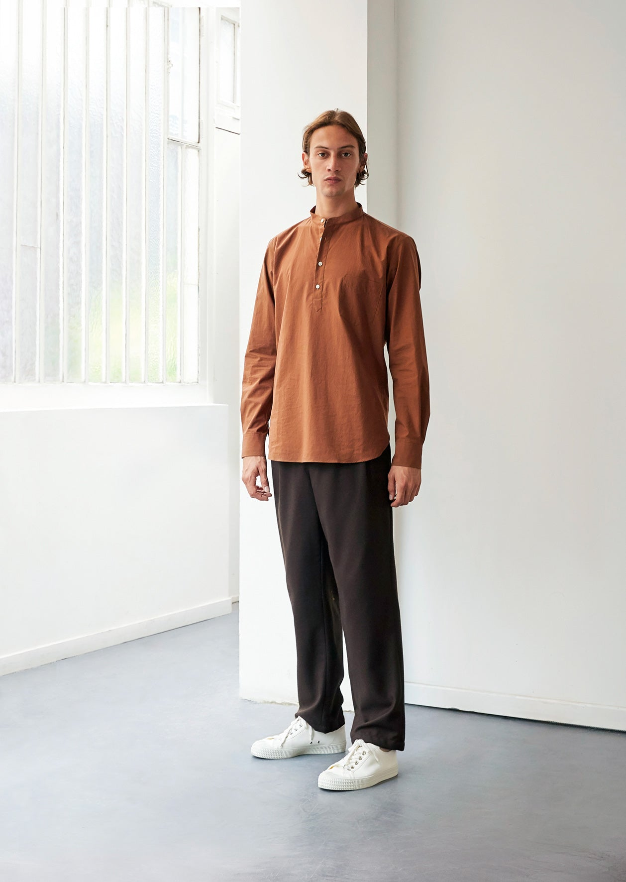 Mao collar popover shirt - Typewriter cotton - Rust