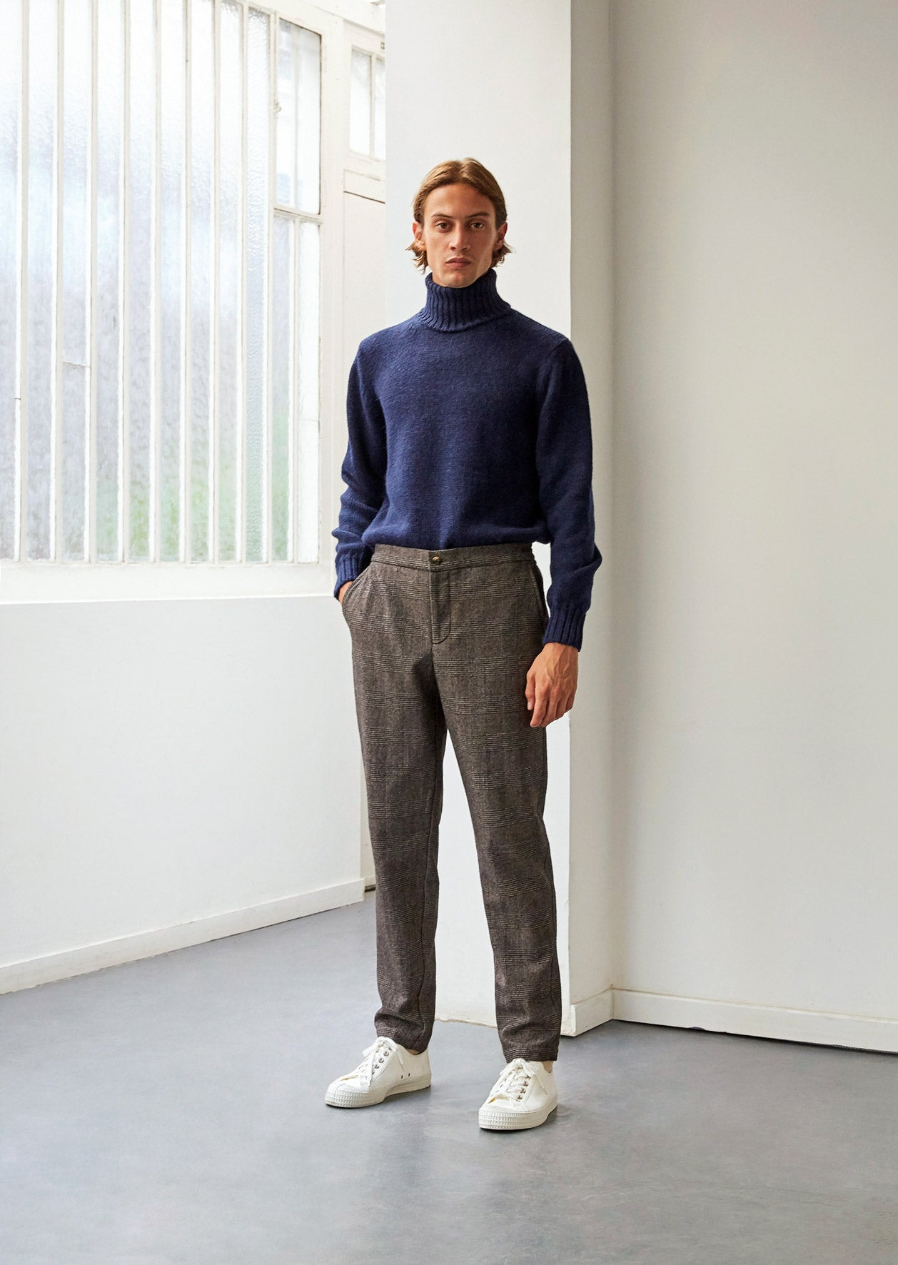 Easy buttoned trousers - Wool & cotton blend - Brown glen check