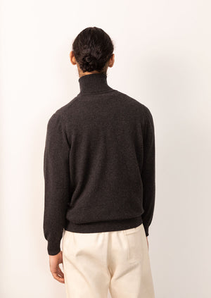 Turtleneck knit - Scottish Cashmere - Charcoal - De Bonne Facture