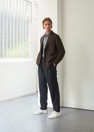 Relaxed jacket - Japanese wool twill - Dark brown - De Bonne Facture