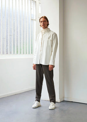Oversized shirt - English medium wale corduroy - White