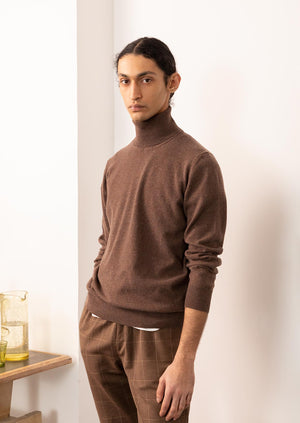Turtleneck knit - Scottish Cashmere - Brown - De Bonne Facture