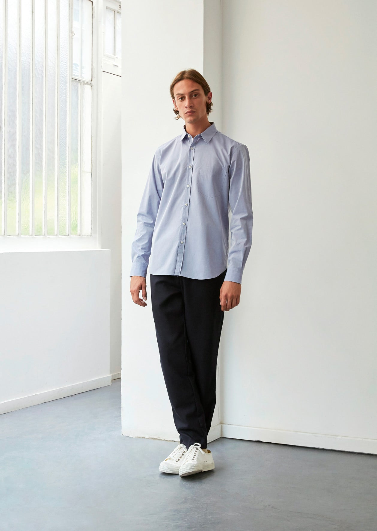Essential shirt - Japanese paper crisp cotton - Sky blue