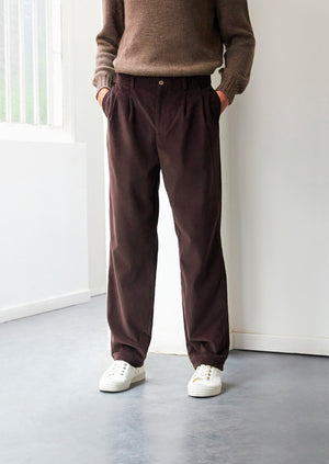 Two pleat large trousers - English medium wale corduroy - Brown - De Bonne Facture