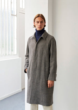 Long mac - Italian soft recycled wool - Brown & navy houndstooth