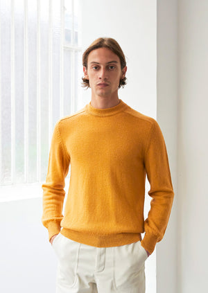 Mock neck sweater - Peruvian superfine alpaca blend - Honey - De Bonne Facture
