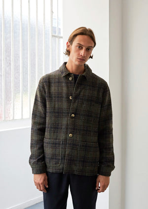 Work jacket - Italian brushed wool tweed - Green plaid