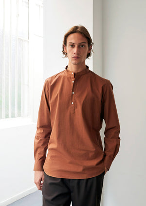 Mao collar popover shirt - Typewriter cotton - Rust - De Bonne Facture
