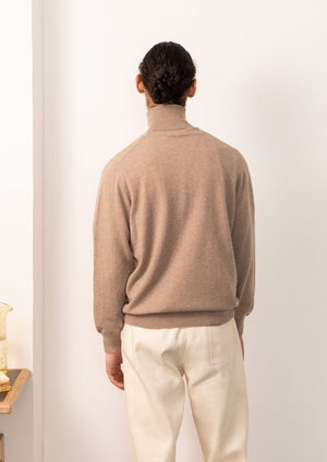 Turtleneck knit - Scottish Cashmere - Undyed beige - De Bonne Facture