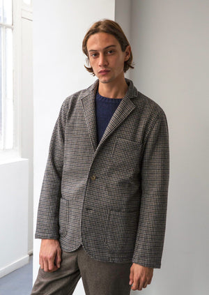 Relaxed jacket - Soft recycled wool - Brown & Navy houndstooth