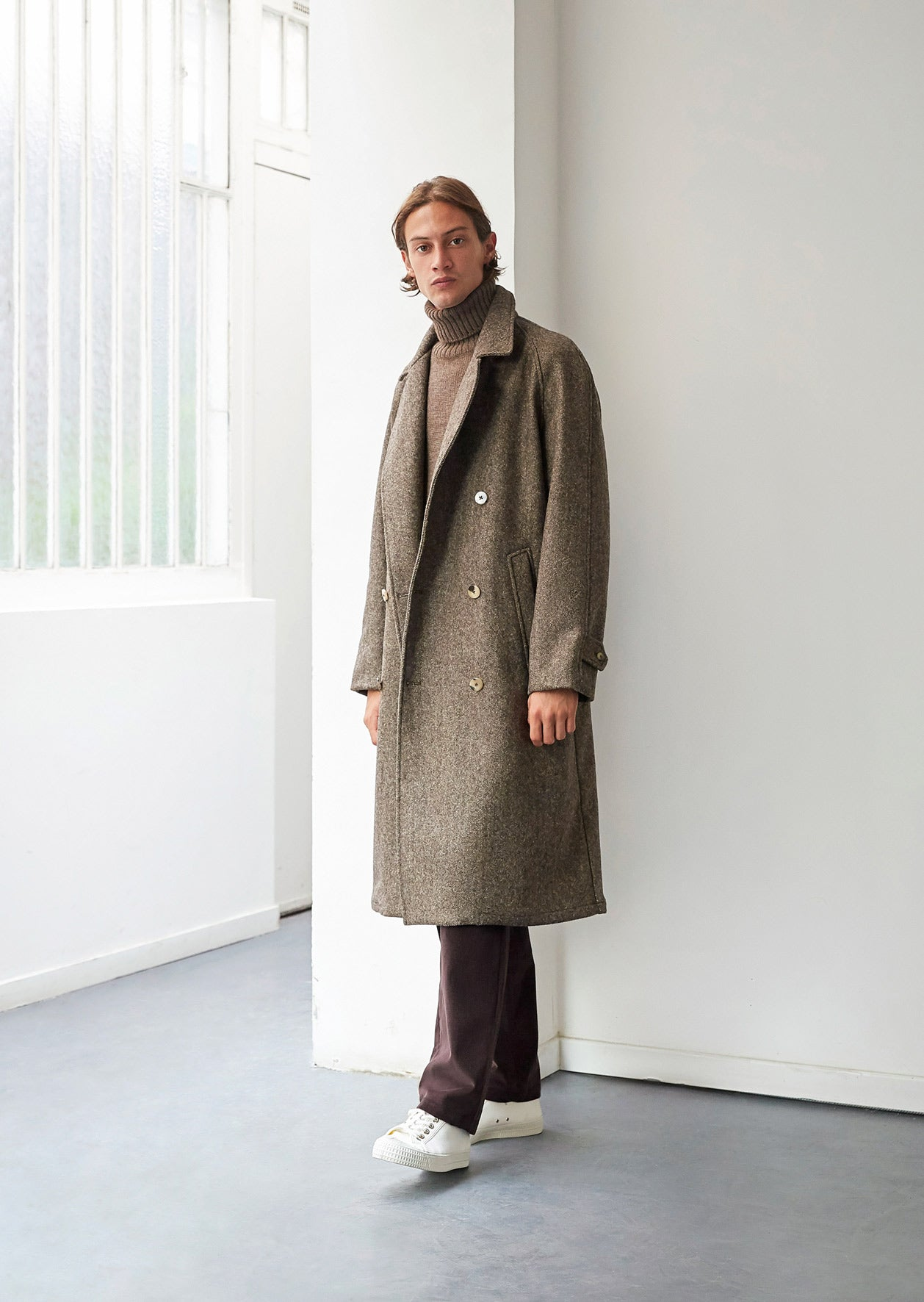 Grandad trench coat - French Pyreanean wool - Coat