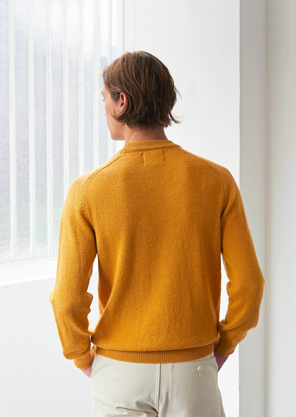 Mock neck sweater - Peruvian superfine alpaca blend - Honey
