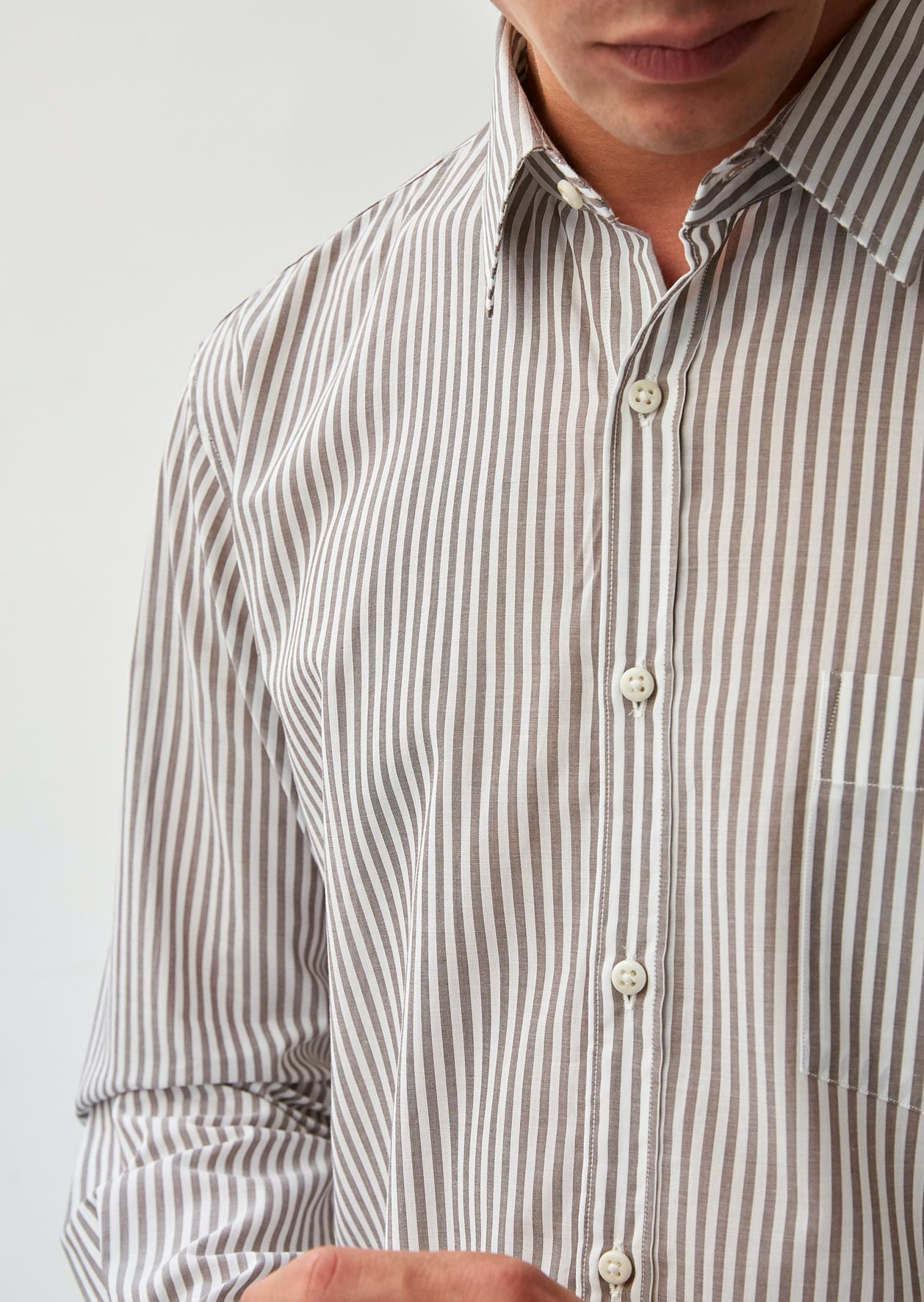 Essential shirt - Japanese cotton voile - Brown stripes - De Bonne Facture