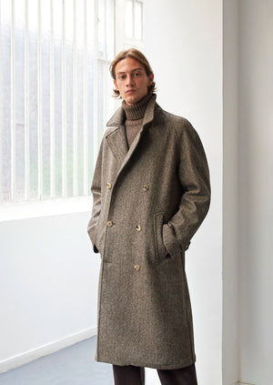 Grandad trench coat - French Pyreanean wool - Gray & Brown herringbone - De Bonne Facture