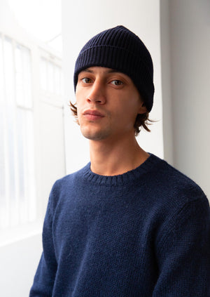 Essential ribbed beanie - Extrafine merino wool - Navy - De Bonne Facture