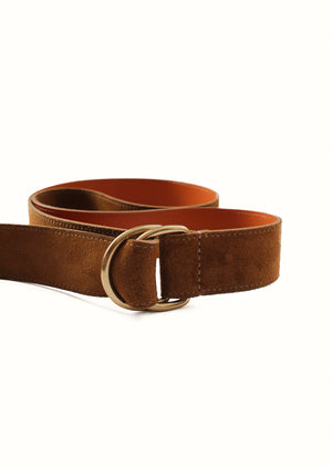 Double D ring belt - Calf Leather- Chestnut