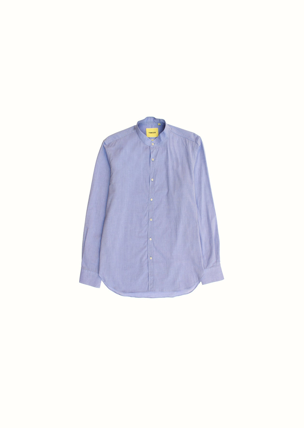 Mao collar shirt - Cotton chambray - Blue - De Bonne Facture