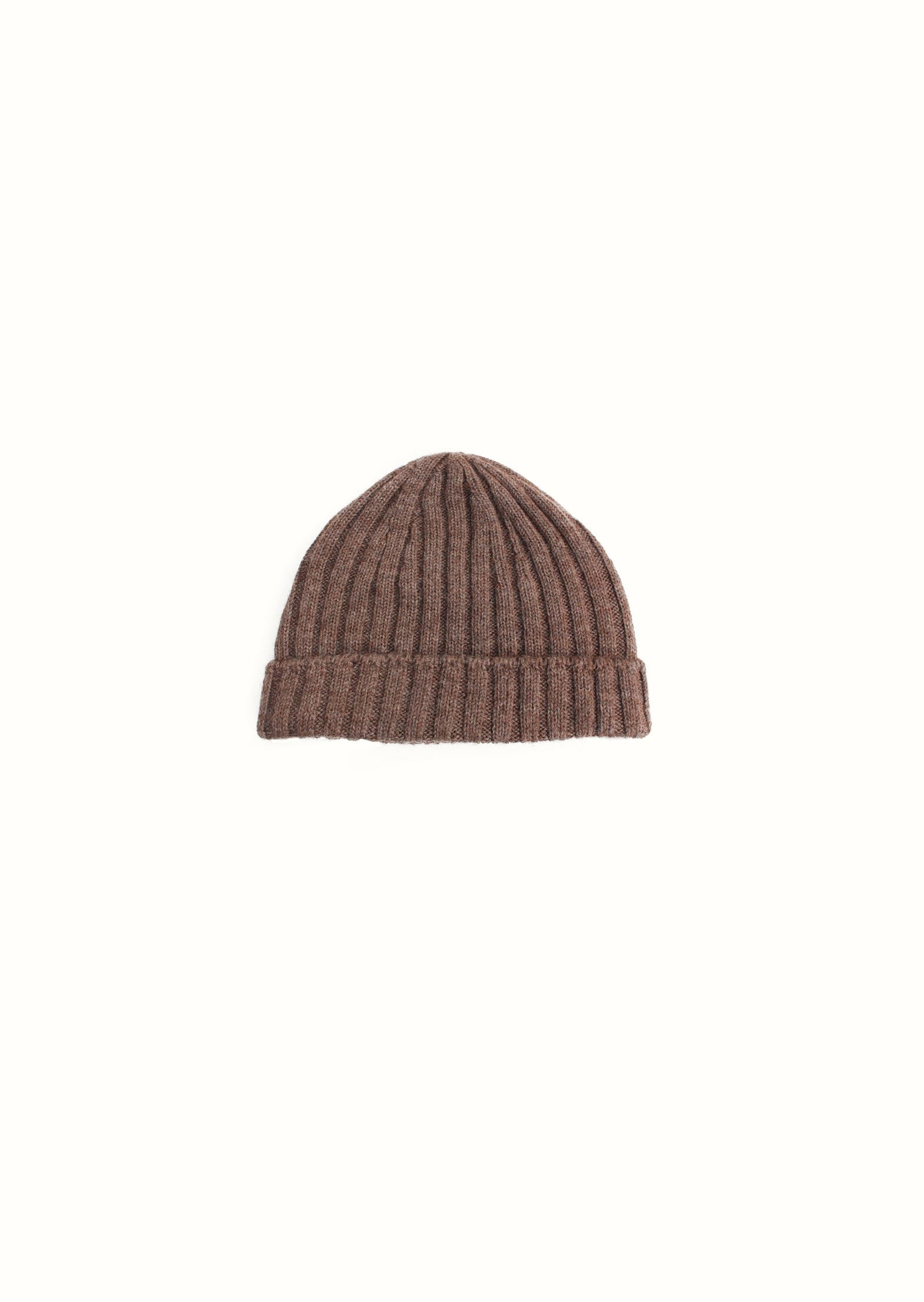 Ribbed beanie -  Wool and alpaca blend - Natural brown - De Bonne Facture