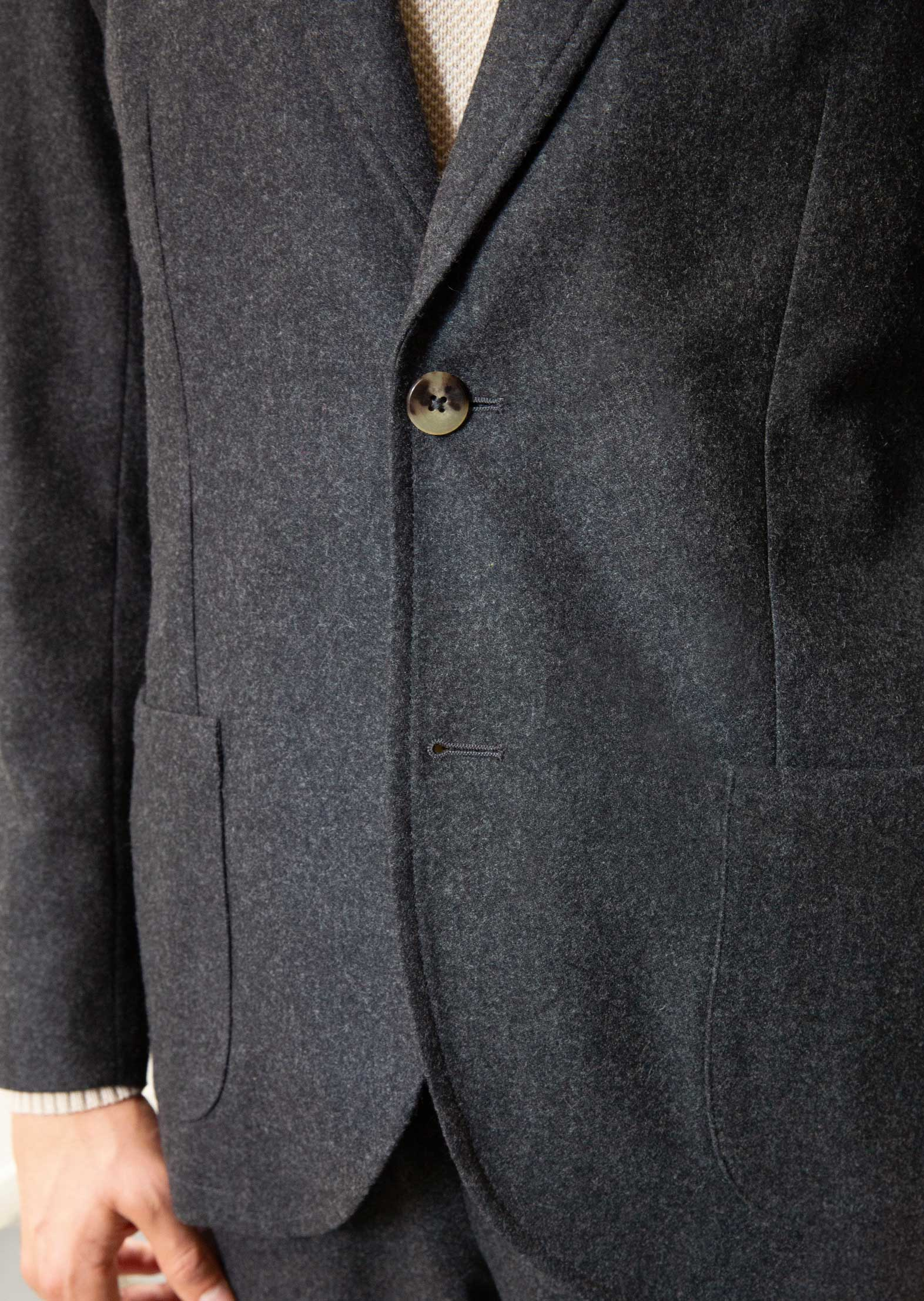 Sports jacket - Italian wool flannel - Charcoal - De Bonne Facture