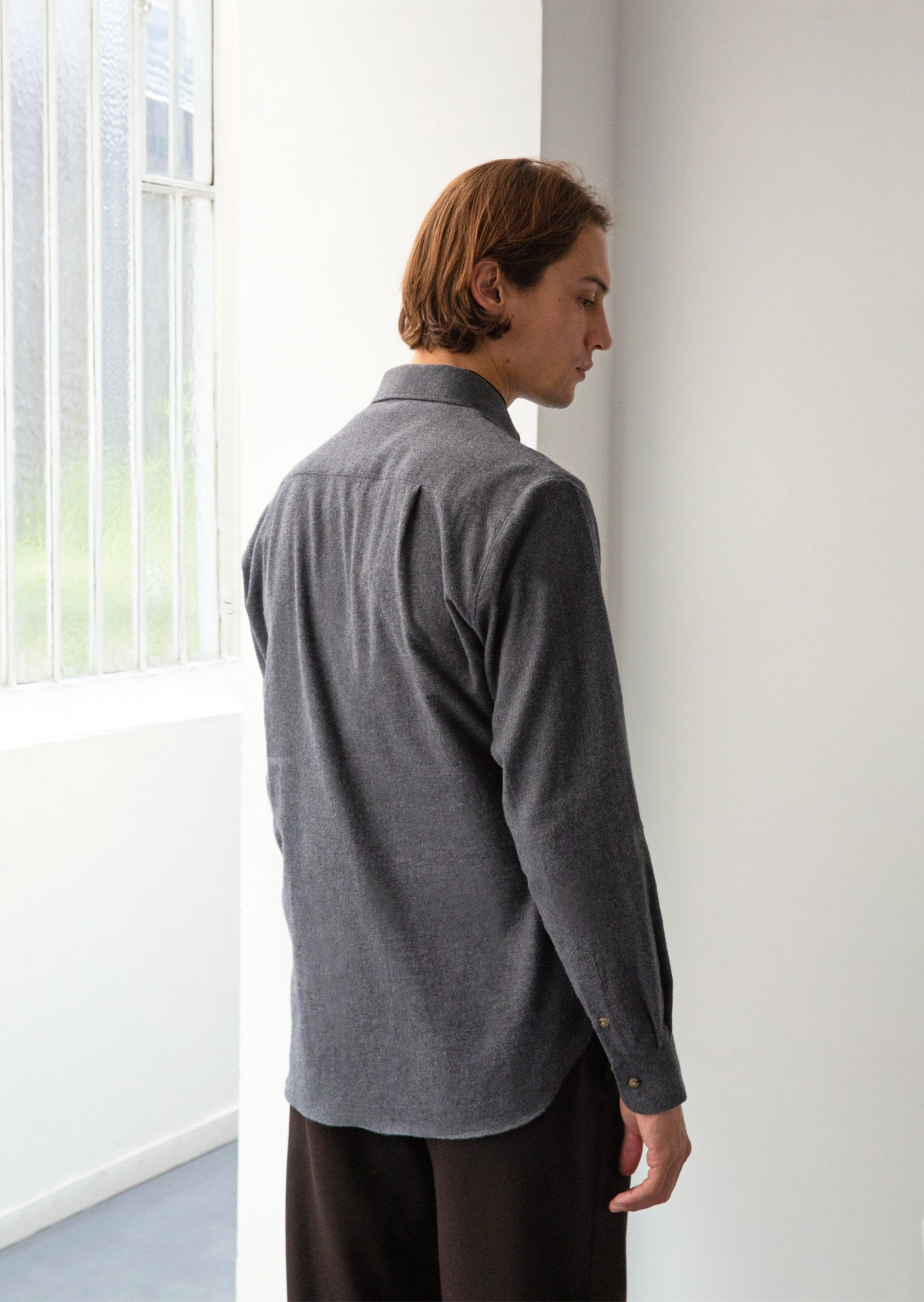 Buttondown shirt - Japanese brushed cotton flannel - Grey