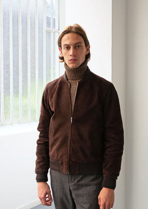 Jockey jacket - Suede lambskin leather - Chocolate brown - De Bonne Facture
