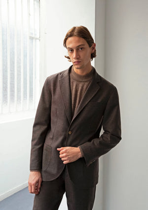 Sports jacket - Italian wool flannel - Greige - De Bonne Facture