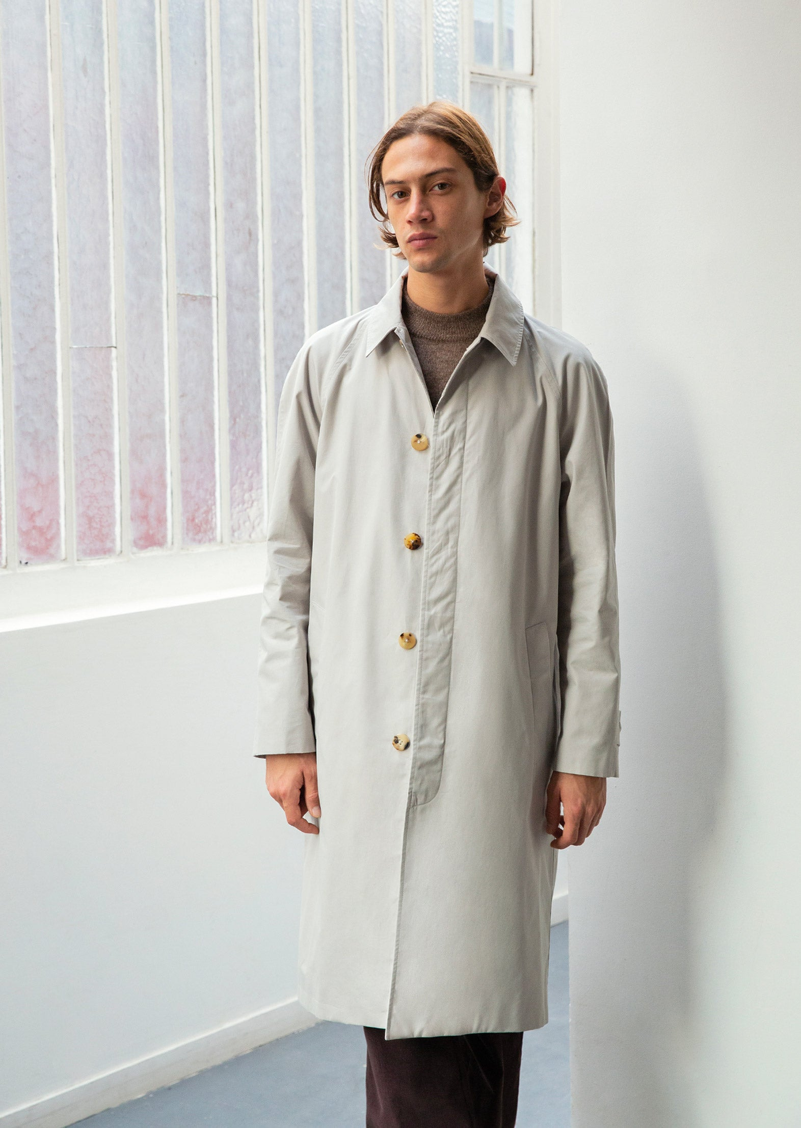 Long mac - English organic cotton ventile - Beige - De Bonne Facture