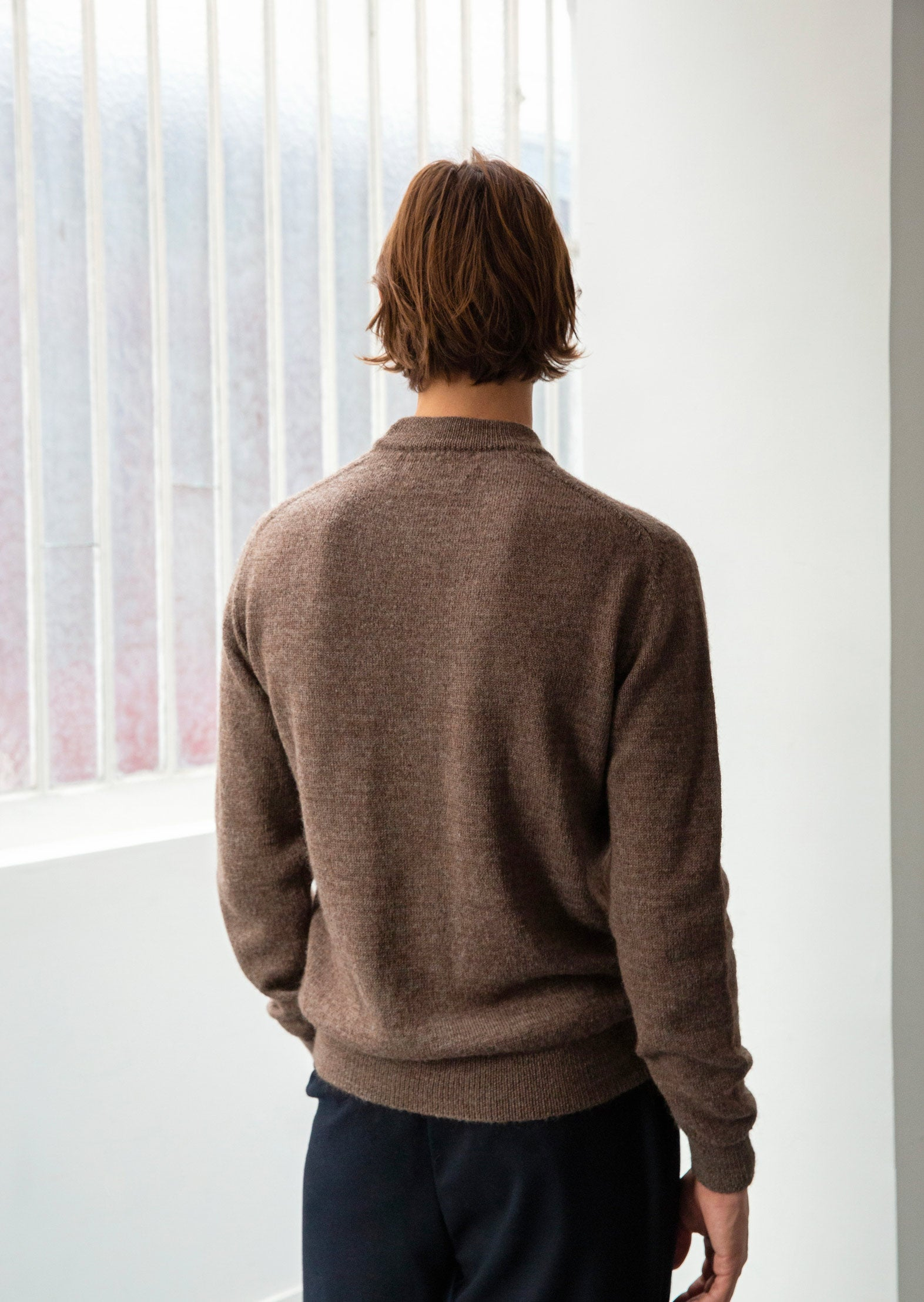Mock neck sweater - Peruvian undyed superfine alpaca blend - Natural brown