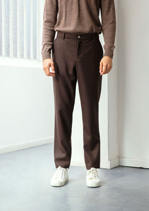 Tailored trousers - Japanese wool twill - Dark brown - De Bonne Facture