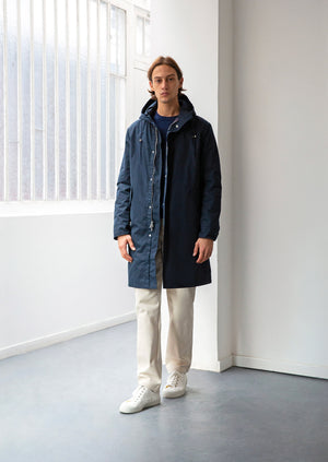 Parka - Water repellent organic cotton ventile - Navy - De Bonne Facture