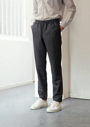 Relaxed trousers charcoal - Italian wool flannel - Charcoal - De Bonne Facture