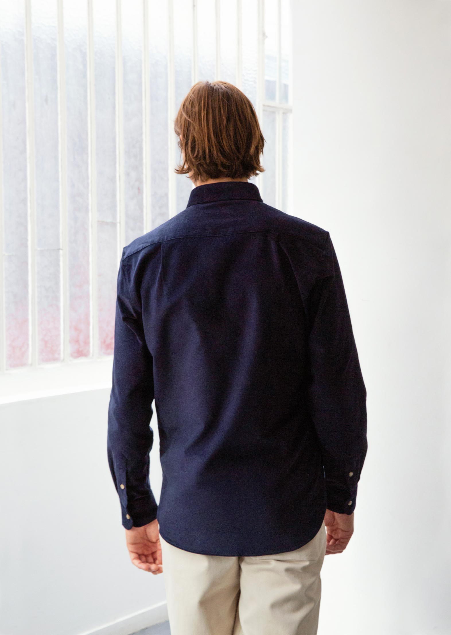Buttondown shirt - English cotton needlecord - Navy - De Bonne Facture