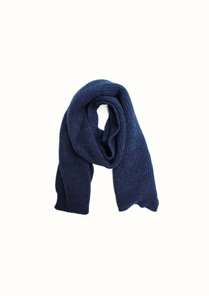 Ribbed scarf - Wool and alpaca blend - Ink blue