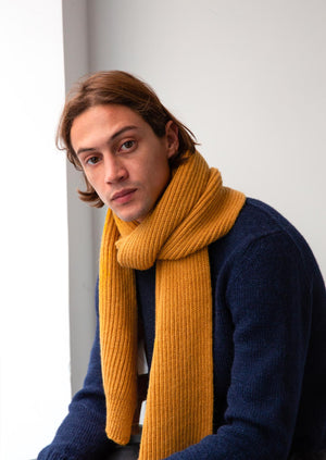 Ribbed scarf -  Wool and alpaca blend - Honey - De Bonne Facture