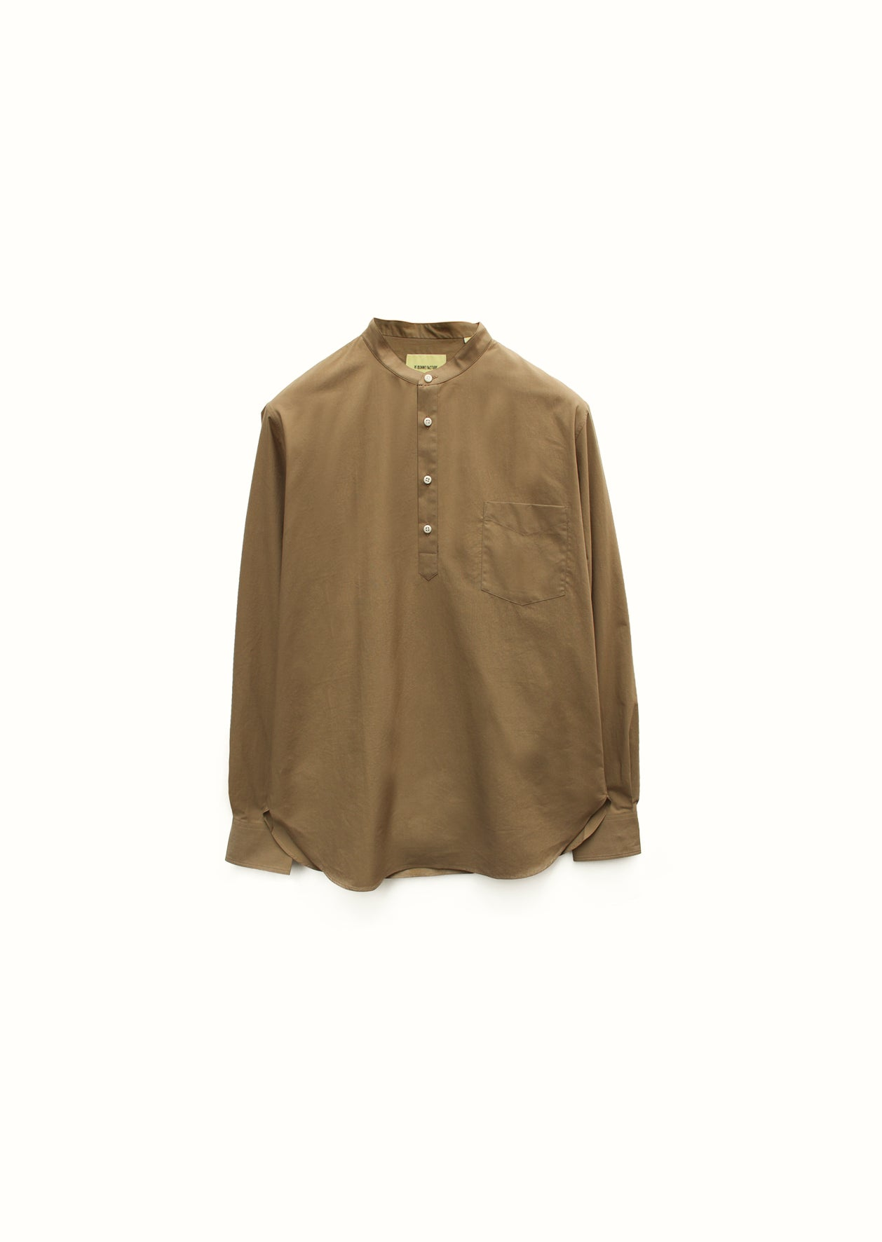 Mao collar popover shirt - Typewriter cotton - Beige - De Bonne Facture
