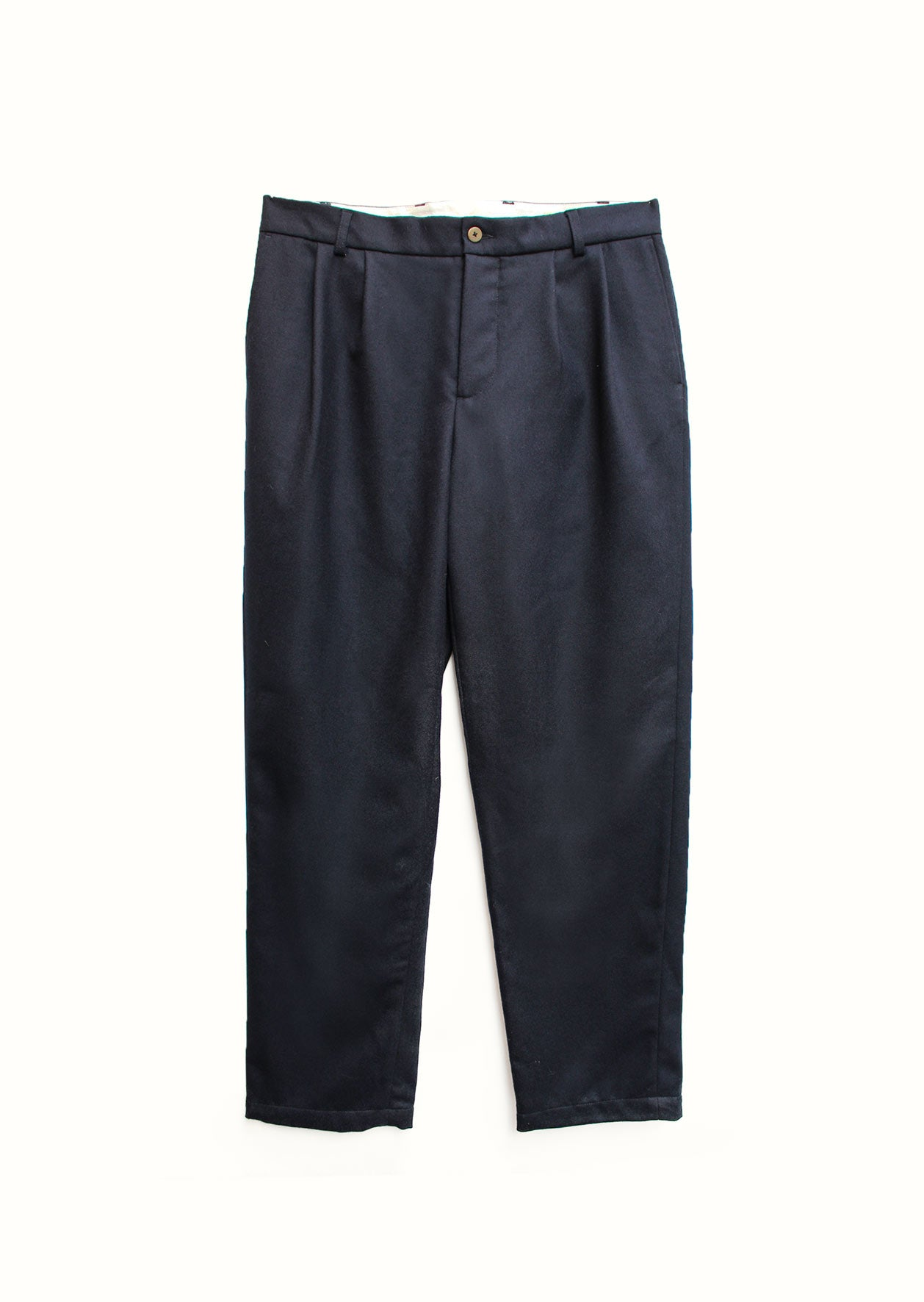 Two pleat large trousers - Japanese wool twill - Navy