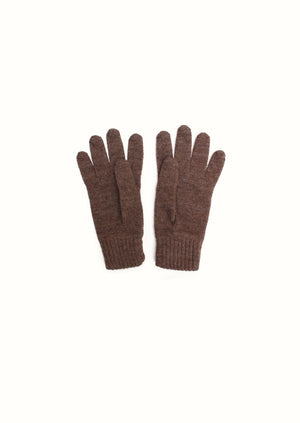 Knitted gloves - Peruvian superfine alpaca blend - Natural brown