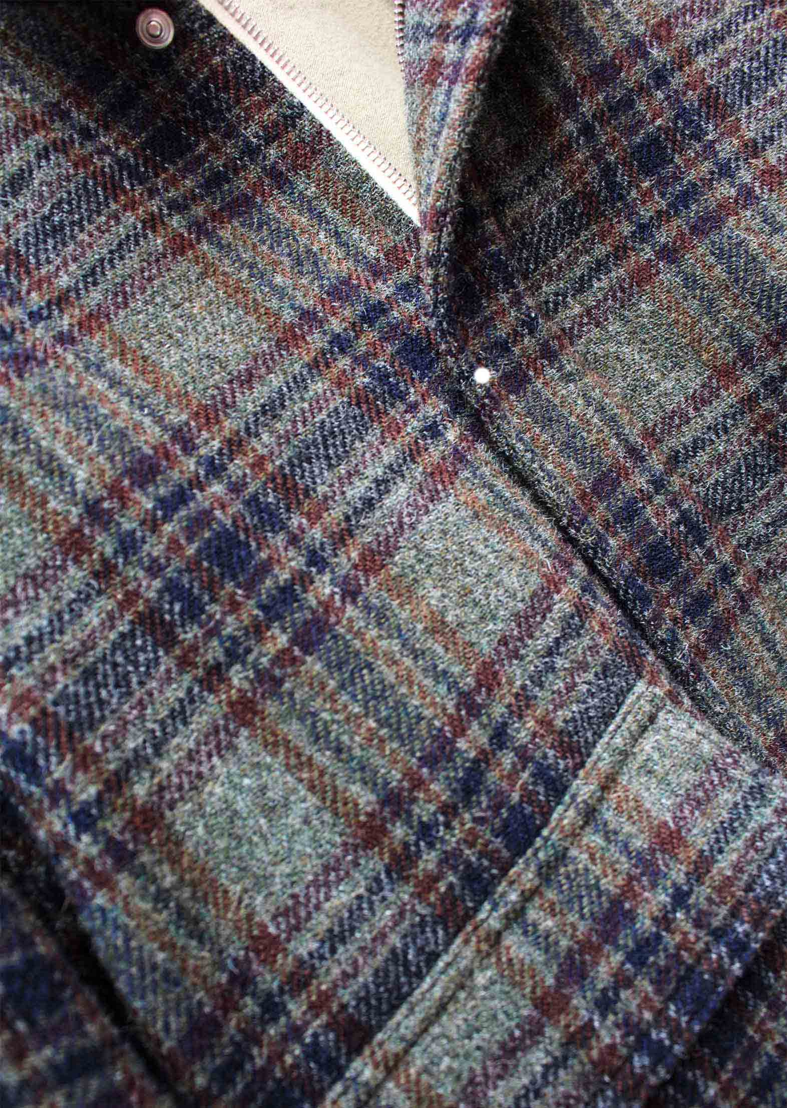 Aviator jacket - Italian brushed wool tweed - Green plaid - De Bonne Facture
