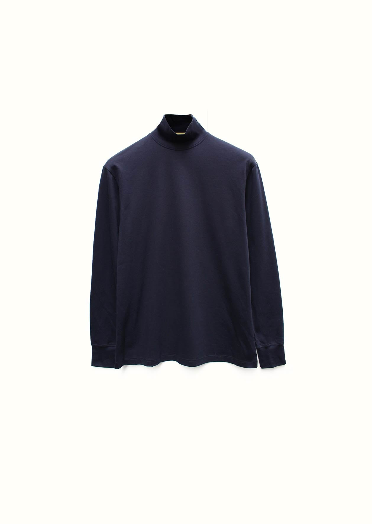 Mock neck t-shirt - Mercerised cotton - Navy