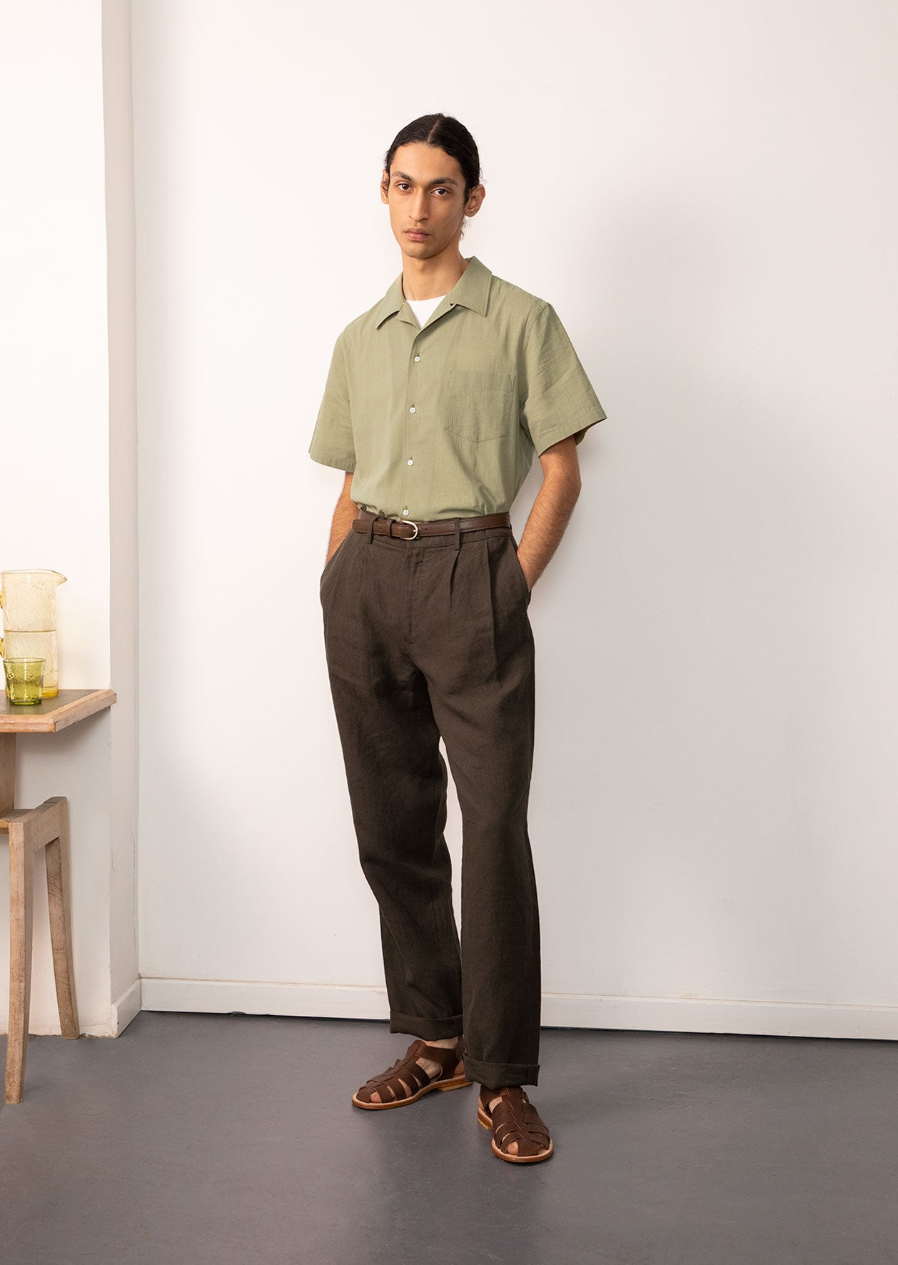 Short sleeve camp collar shirt - Crumpled cotton voile - Sage