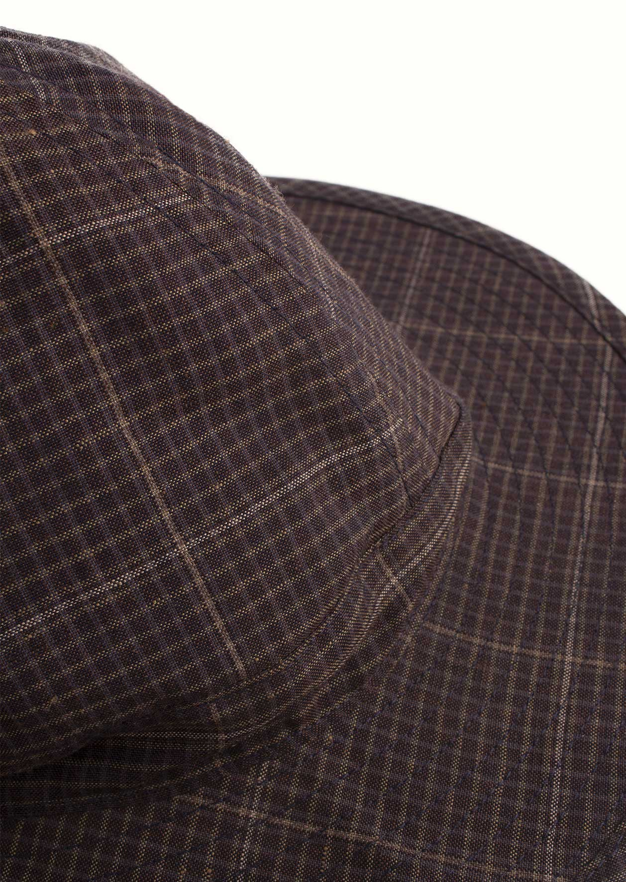De Bonne Facture - Bob hat - Washed wool & linen - Dark brown checks