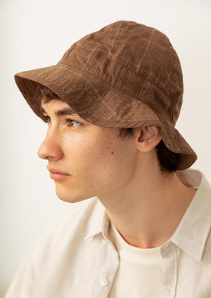 De Bonne Facture - Bob hat - Washed wool & linen - Taupe checks