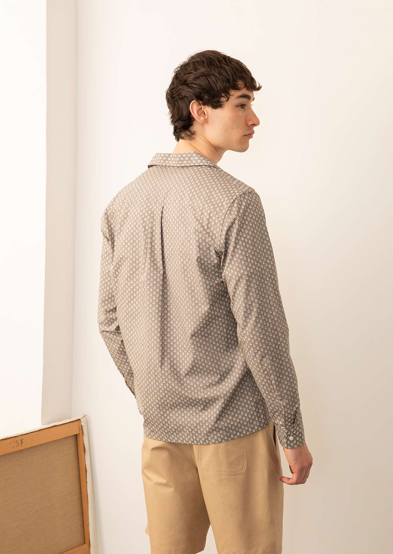 De Bonne Facture - Camp collar long sleeve shirt - Provencal print cotton voile - Taupe