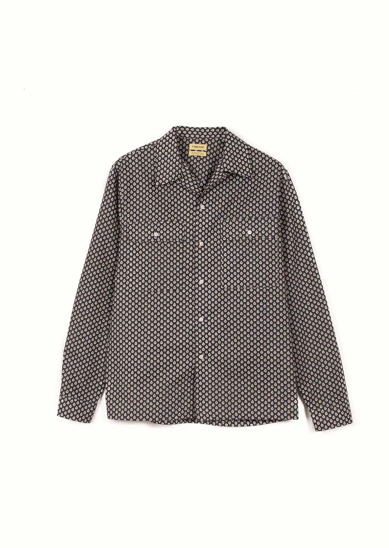 De Bonne Facture - Camp collar long sleeve shirt - Provencal print cotton voile - Navy