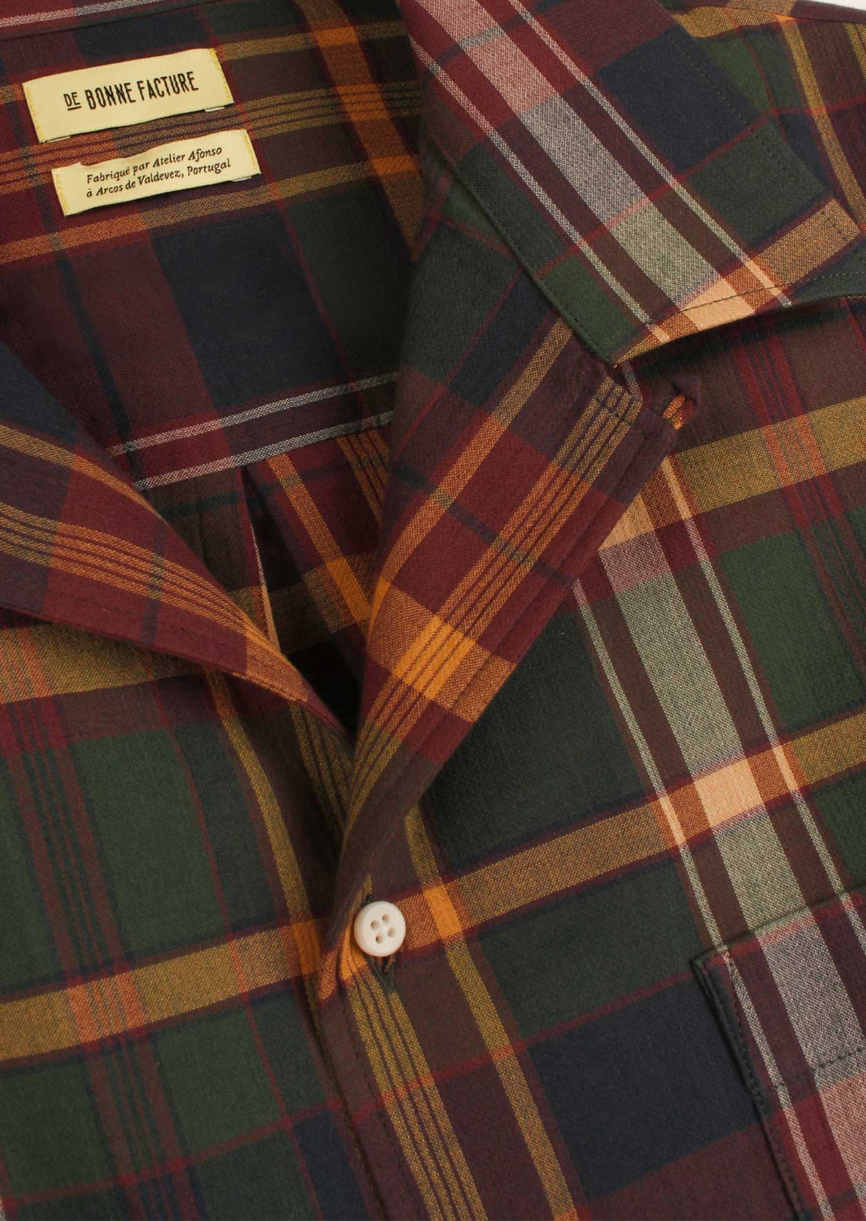 De Bonne Facture - Short sleeve camp collar shirt - Crumpled cotton voile - Burgundy & green checks